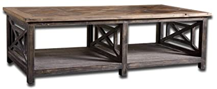 Rustic Openwork Pine Coffee Table