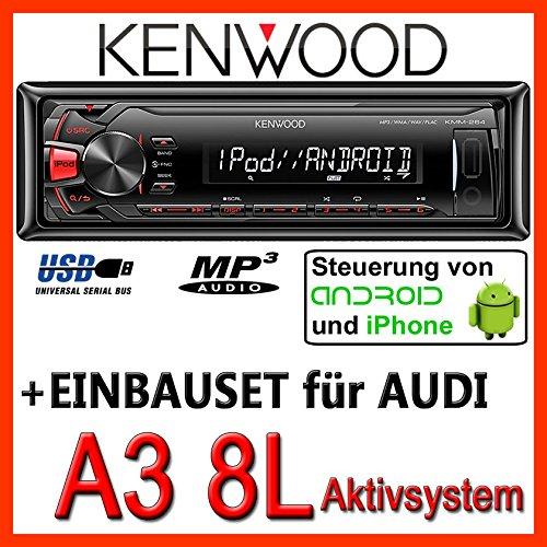 AUDI a3 8L kenwood kMM - 264/mP3/uSB avec kit de montage encastré pour autoradio-système actif pour machine