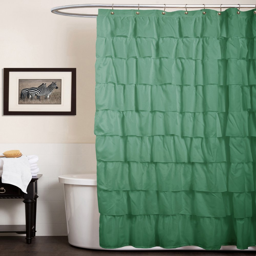 Lush Decor Ruffle Shower Curtain, Green