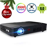 Projector 3500lumens Mini Portable DLP 3D Video Projector Max 300 '' Home Theater Projector Support 1080P HDMI WIFI Bluetooth USB VGA PS4 Great For Gaming Business Education Built-in Speaker&Battery (Tamaño: T9)