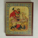 Small Print St George Russian Wood Catholic Icon Jerusalem Holy Land (ICON-008)