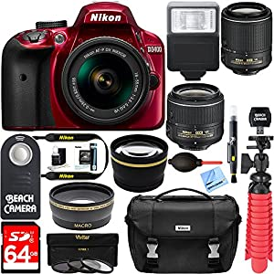 Nikon D3400 24.2 MP DSLR Camera + VR Lens Kit + Bundle 64GB SDXC Memory + Photo Bag+Wide Angle Lens + 2x Telephoto + Flash+ Remote +Tripod+Filters (18-55mm & 55-200mm Dual VR Zoom Lens Package, Red)