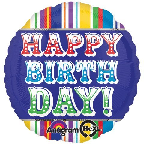 Anagram International Hx Happy Birthday Primary Balloon, Multicolor
