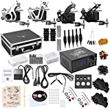 Shark Professional Tattoo Kit 4 Machines Gun Carry Case With Key Power Supply Needles Grips Tips