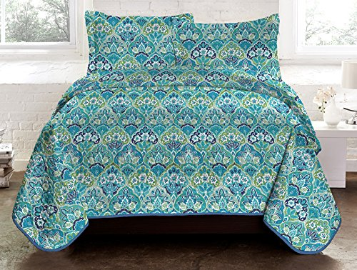 Libra 3-Piece Reversible Quilt King_Blue (Blue King Size Quilt compare prices)