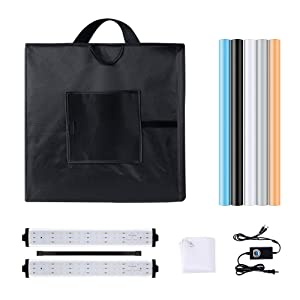 Heorryn Professional Photo Light Box, 24x24x24 Inches Portable Photo Studio Box Folding Shooting Tent Kit with Brightness Dimmable LED Lights & 5 Backdrops for Jewellery, Food, Shoes Photography etc