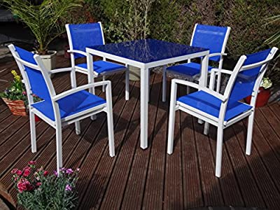Rondeau Leisure Talia Square 4 Seater Dining Set - Blue Metal Garden Furniture Set - 4 Seater Dining Set - Outdoor Patio Table and Chair Set