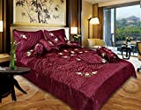 fashionadobe Satin Gold printed Double Bed Bedding Wedding set ( Set of 8 pcs) 1 Double bed Bedsheet:: 2 Pillow cover:: 1 Double Bed AC comforter:: 2 Filled Cushions:: 2 Filled Bolsters