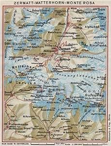 .Breuil-Cervinia.Switzerland Italy.Vintage;1948 map: Home & Kitchen