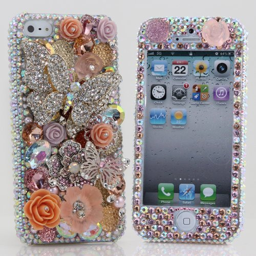 Great Sale Bling iphone 5 5S Case Cover Faceplate Luxury 3D Swarovski Crystal Diamond Silver Orange Butterfly Design (100% Handcrafted by BlingAngels)