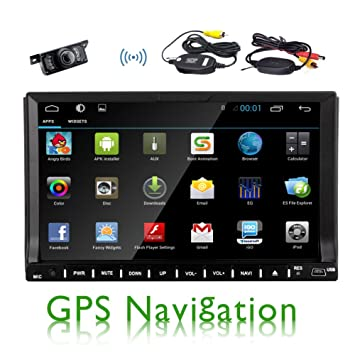 """Pupug Android 04:04 FM Double 2 Din 7 """"Car Stereo Autoradio Bluetooth intšŠgršŠ 3DGPS vidšŠo HD de navigation š€ šŠcran tactile capacitif DVD de voiture Lecteur CD DVD + Wifi + Autor"""