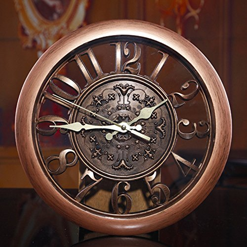 Foxtop 12 Inch New Arrival Hollow European-style Retro Fashion Creative Living Room Wall Clock, Arabic Numeral Display, Mute Quartz Digital Wall Clock Large Decoration Gift for Home Office