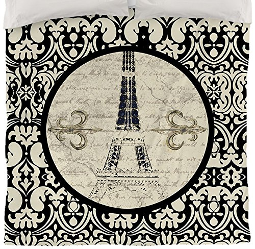 Thumbprintz Duvet Cover, Queen/Full, Paris Damask Eiffel Tower front-18544