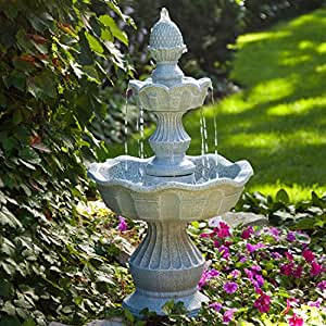 Amazon Com 2 Tier Outdoor Fountain With Pineapple Top In