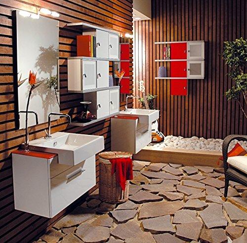 Mobile Arredo Bagno Componibile sospeso disp. in diversi colori con lavabo Mobili