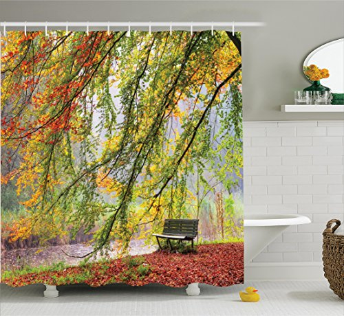 ambesonne-farm-house-decor-collection-autumn-view-of-a-bench-under-bright-colored-fall-leaves-freshe