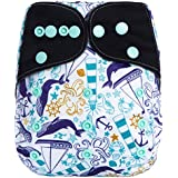"HappyEndings ""Night, Night""TM Charcoal Bamboo All In One Diaper (+Pocket & 5 Layer Charcoal Bamboo Insert) ""Deep..."