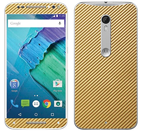 Decalrus - Motorola Moto X Pure Edition / Moto X Style GOLD Texture Carbon Fiber skin skins decal for case cover wrap CFmotoXPureGold (Carbon Fiber Moto X compare prices)