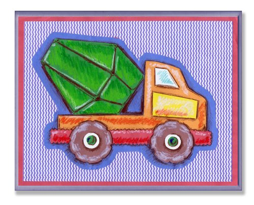 The Kids Room by Stupell Orange and Green Cement Truck on Blue Stripes Rectangle Wall Plaque