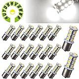 AUTOSAVER88 [20 Pack] Superbright 1156 LED Light Bulb White BA15S 5050 [18 SMD] Car Trailer LED Light 7503 1141 1073