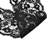 "Housweety 10 Yards Black Stretch Floral Scallop Lace Edge Trim 5-3/4"" wide"
