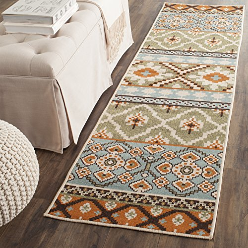 "Safavieh Veranda Collection VER097-0745 Indoor/Outdoor Green and Terracotta Contemporary Southwestern Runner (23"" x 8)"