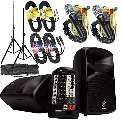 Yamaha Package - Yamaha StagePas 400i 400W Portable PA + 2 Speaker Stands w/ Bag + 2 1/4
