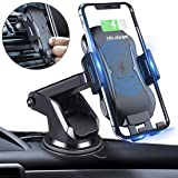 Homder Automatic Clamping Wireless Car Charger Mount, 10W/7.5W Qi Fast Charging Car Phone Holder,Windshield Dashboard Air Vent Compatible with iPhone Xs/Max/X/XR/8/8 Plus,Samsung Note 9/ S9/ S9+/ S8 (Color: Black)