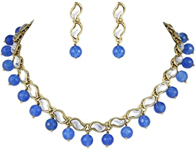 Azure Kundan Necklace Set at amazon
