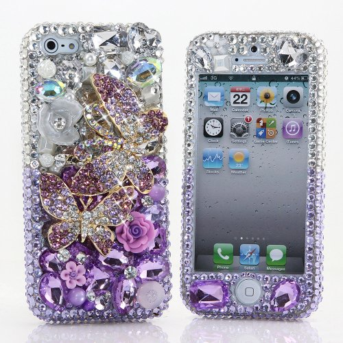 Great Price BlingAngels® 3D Luxury Bling iphone 5 5s Case Cover Faceplate Swarovski Crystals Diamond Sparkle bedazzled jeweled Design Front & Back Snap-on Hard Case + FREE Premium Quality Stylus and Water-Resistant Bag (100% Handcrafted by BlingAngels) (Double Butterflies in Silver and Purple Background)