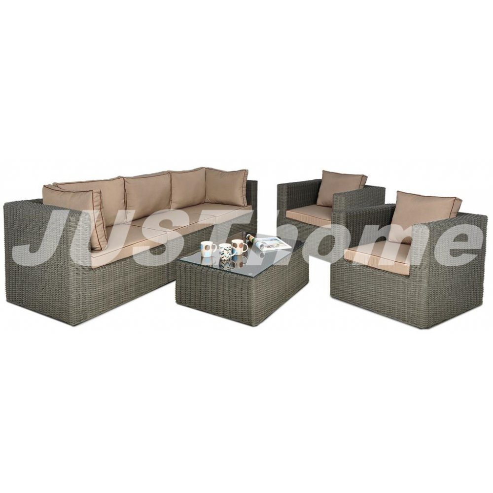 JUSThome Gartenmöbel Sitzgruppe Gartengarnitur Rodos IIIF 2x Sessel + 1x Sofa + 1x Tisch Grau