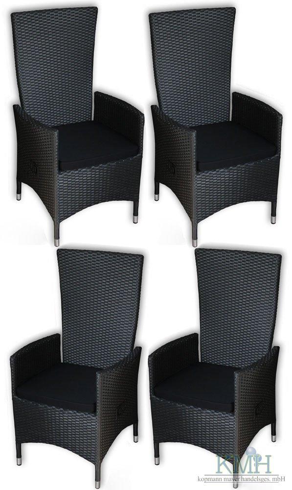 """KMH®, 4er Set Polyrattan Hochlehner """"Tjorben"""" schwarz incl. Kissen (stufenlos verstellbare Rückenlehne – 4 String) (#106251) jetzt kaufen"""