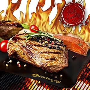#1 TOP RATED BBQ Grill Mat - SET OF 3 - A Miracle Barbecue solution for Gas, Charcoal or Electric Grill - Perfect for Grilling Ribs, Shrimps, Steaks, Burgers and Vegetables - No Need to Use Barbecue Accessories like Grill Brush ever again - FREE Cooking e