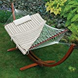 Island Bay 11 ft. Cotton Rope Hammock with Wood Stand, Pillow and Pad