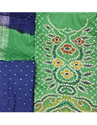 Exotic India Bandhani Salwar Kameez Fabric From Gujarat With Embroidery And Mirr