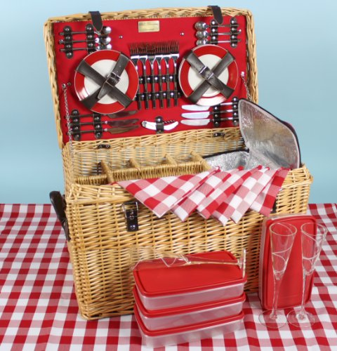 THE KEMP DE LUXE PICNIC BASKET for 6, with three willow bottle compartments, 6 glass champagne flutes, 6 china plates, 4 food boxes and insulated cooler bag, plus stainless steel cutlery and gingham napkins and tablecloth