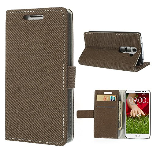 JUJEO Cloth Leather Cover with Stand and Card Slots for LG G2 Mini D610/D618/D620 D620R - Retail Packaging - Coffee Brown