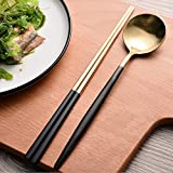 Autohome 2 Spoons and 2 Pairs Chopsticks Saintless Steel Dinner Flatware - Black&Golden