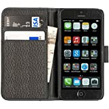 Chelsea Real Leather Compact Wallet Case for iPhone 5 5S with Card Holder in Textured Black