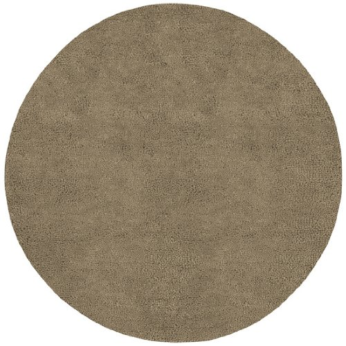 8' Solid Sandy Taupe Hand Woven Round New Zealand Wool