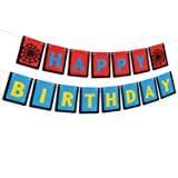 AERZETIX Superhero Spiderman Happy Birthday Banner Funny for Newborn Baby Boy Children Spiderman Themed Birthday Party Decoration (Color: Happy Birthday)