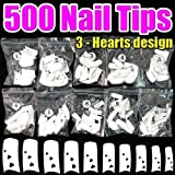 500pcs White Nail Tips (3 Hearts Design) CODE: #431F Reviews