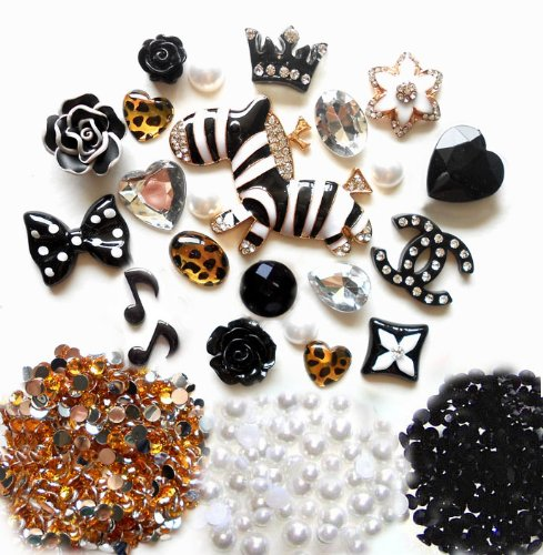 DIY 3D Rhinestones Zebra Bling Cell Phone Case Resin Flat back Kawaii Cabochons Deco Kit / Set — lovekitty