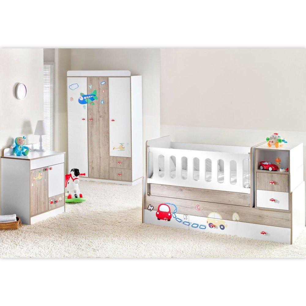 Mitwachsendes Komplett Babyzimmer Trafic Jam mit 3 türigem Kl. von 0 bis 12 Jahren