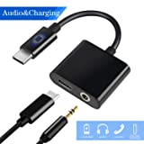 USB C to 3.5mm Audio Adapter, HiMusic New Version 2 in 1 USB Type C Male to 3.5mm Female Stereo Earphone Dongle and Charging Adapter Compatible with Google Pixel 3/3 XL/2/2 XL and More (Black) (Color: Black)