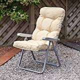 Garden Recliner Silver Chair with Luxury Cushion - Ares Cream