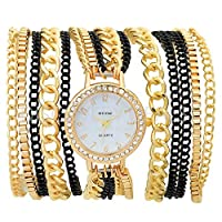 Horse Head Analogue White, Golden Dial Women's Watch-AD5