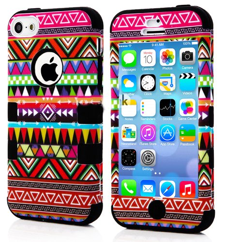 Mylife (Tm) Black - Colorful Tribal Pattern Series (Neo Hypergrip Flex Gel) 3 Piece Case For Iphone 5/5S (5G) 5Th Generation Itouch Smartphone By Apple (External 2 Piece Fitted On Hard Rubberized Plates + Internal Soft Silicone Easy Grip Bumper Gel + Life