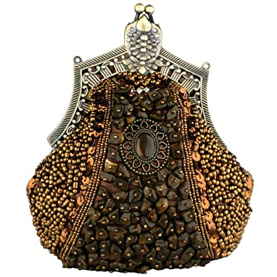 MG Collection Brown Antique Victorian Brooch Beaded Clasp Clutch Evening Purse
