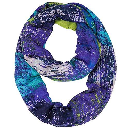 MissShorthair Women's Light Weight Colorful Painting Plaid Tartan Infinity Scarf (Atlantis)